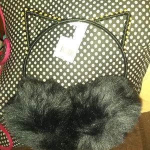 Rhinestone Cat ear EARMUFFS (Black)